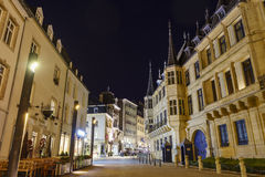The historical Palais Grand Ducal. Luxembourg, SEP 9: The historical Palais Grand Ducal at night on SEP 9, 2016 at Luxembourg Stock Photos
