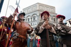 Historical parade in Florence, with extras in fleshy costumes royalty free stock photos