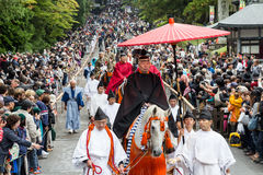 Historical Parade of Samurai Warriors on Nikko Toshogu Shrine Autumn Grand Festival (Hyakumono-Zoroe Sennin Gyoretsu) Royalty Free Stock Images