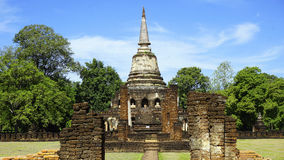 Historical Park Wat chang lom temple center main approach Royalty Free Stock Images