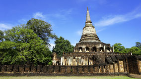Historical Park Wat chang lom temple pagoda with fence Royalty Free Stock Photography