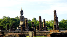 Historical Park Wat Mahathat temple bhudda statue Stock Photos