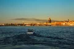 St. Petersburg, Russia. Historical part of the city, Neva river, St. Isaac`s Cathedral, Admiralty. Promenade des Anglais. Historical part of the city, Neva royalty free stock photos