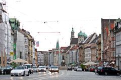 Historical part of old town, Augsburg, Germany. Traffic in Altstadt, Augsburg, Bayern Germany Royalty Free Stock Images