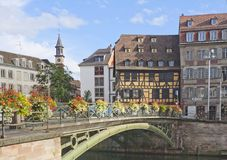Historical part of Strasbourg, France. Historical buildings and old bridge in the center of Strasbourg, France in summer Royalty Free Stock Photos