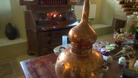 Historical perfume and cosmetics laboratory in museum stock video