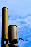 Historical, pipe. Two historical ship pipe in the blue air Stock Photography