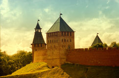 Historical place walls - Veliky Novgorod, Russia. Historical castle vibrant background - Veliky Novgorod, Russia Royalty Free Stock Photos