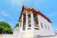 Historical place, Wat Ubosatharam. The temple houses many artifacts such as wall murals representing the style of early Rattanakos royalty free stock photos