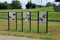Historical Plaques at the Helena Levee Walk, Helena Arkansas. The Levee Walk offers panoramic views of downtown Helena and the Mississippi River and the stock photos