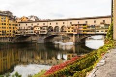 Bridge Ponte Vecchio, Florence, Italy. Historical Ponte Vecchio bridge in Florence Italy with outstanding arches Stock Image