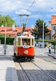 Historical Prague museum tram line 41. Prague, Czech Republic -  July 1, 2017: Historical Prague museum tram line 41 and an old tram driver on a cobble stone Stock Images