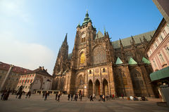 Historical Prague square and tourist walk around Royalty Free Stock Photography
