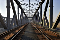 Historical railway bridge over the river Vistula,  Poland. Stock Photo