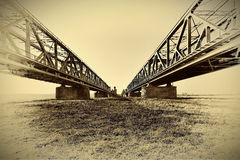 Historical railway bridge over the river Vistula, Tczew - Poland. Stock Images