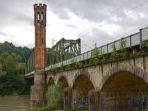 Historical railway bridge in passau. In austria Royalty Free Stock Photos