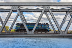Historical railway bridge in Tczew, Poland. Historical railway bridge over the river Vistula, Tczew - Poland stock photo