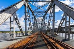 Historical railway bridge in Tczew, Poland. Historical railway bridge over the river Vistula, Tczew - Poland royalty free stock photo