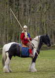 Historical Re-enactment of Roman Cavalry and Infantry soldiers at Northumberland, May 2012. Stock Image