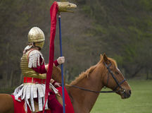 Historical Re-enactment of Roman Cavalry and Infantry soldiers at Northumberland, May 2012. Royalty Free Stock Photos