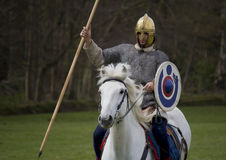 Historical Re-enactment of Roman Cavalry and Infantry soldiers at Northumberland, May 2012. Stock Photography