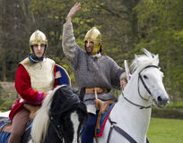Historical Re-enactment of Roman Cavalry and Infantry soldiers at Northumberland, May 2012. Royalty Free Stock Images