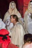 Historical reconstruction of biblical events at night. Mystery of the Passion Play of Jesus Christ in Gdansk. Gdansk, Poland - March 30, 2018: Historical Royalty Free Stock Photo