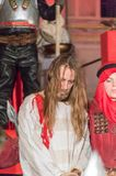 Historical reconstruction of biblical events at night. Mystery of the Passion Play of Jesus Christ in Gdansk. Gdansk, Poland - March 30, 2018: Historical Stock Images