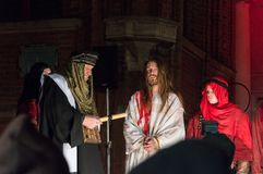 Historical reconstruction of biblical events at night. Mystery of the Passion Play of Jesus Christ in Gdansk. Gdansk, Poland - March 30, 2018: Historical Stock Image