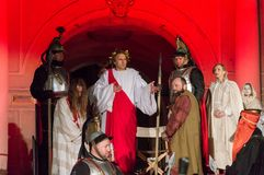 Historical reconstruction of biblical events at night. Mystery of the Passion Play of Jesus Christ in Gdansk. Gdansk, Poland - March 30, 2018: Historical Royalty Free Stock Images