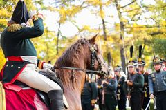 Historical reconstruction. General on horse. royalty free stock photos
