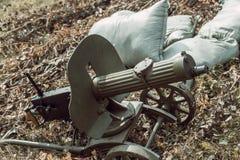 Historical reconstruction second world war. Machine gun. Royalty Free Stock Photography