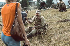 Historical reconstruction second world war. The participants of Stock Image