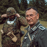 Historical reconstruction second world war. Soldier in german un Royalty Free Stock Photography