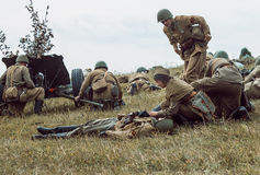 Historical reconstruction second world war. Soldiers on the batt Stock Photos