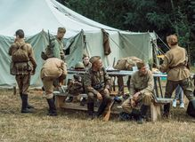 Historical reconstruction second world war. A squad of soldiers Royalty Free Stock Image