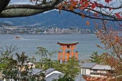 Historical red sacred Miyajima gate in Hiroshima Japan Royalty Free Stock Photography