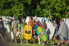 Historical reenactment of Boudica's rebellion Royalty Free Stock Images