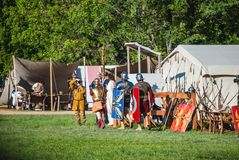 Historical reenactment of Boudica's rebellion Stock Image