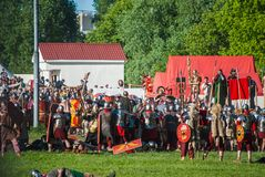 Historical reenactment of Boudica's rebellion Royalty Free Stock Photo
