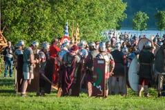 Historical reenactment of Boudica's rebellion Stock Images