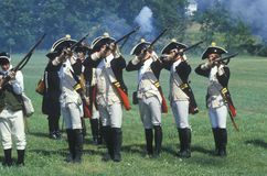 Historical Reenactment, Daniel Boone Homestead, Brigade of American Revolution, Continental Army Infantry Royalty Free Stock Images