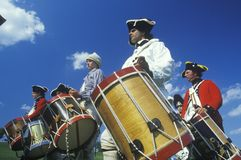 Historical Reenactment, Daniel Boone Homestead, Brigade of American Revolution, Continental Army Infantry, Fife and Drum Royalty Free Stock Image