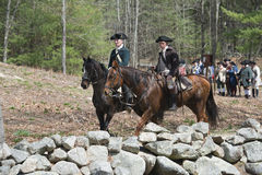 Historical Reenactment Events in Lexington, MA, USA. Historical Reenactment in the 242nd Anniversary of the Battles of Lexington and Concord to celebrate the stock image