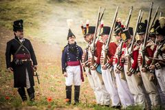 Historical reenactment of the Napoleonic Wars, in Burgos, Spain, on June 12, 2016. Historical reenactment recreating the siege of Burgos Castle battle during Stock Image