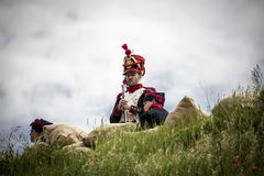 Historical reenactment of the Napoleonic Wars, in Burgos, Spain, on June 12, 2016. Historical reenactment recreating the siege of Burgos Castle battle during Stock Photography