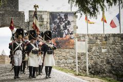 Historical reenactment of the Napoleonic Wars, in Burgos, Spain, on June 12, 2016. Historical reenactment recreating the siege of Burgos Castle battle during Royalty Free Stock Images