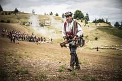 Historical reenactment of the Napoleonic Wars, in Burgos, Spain, on June 12, 2016. Historical reenactment recreating the siege of Burgos Castle battle during Royalty Free Stock Photography