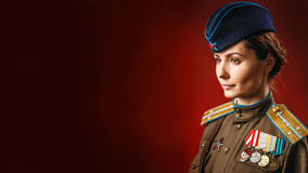 Historical reenactment of soviet union army by pretty woman Stock Image