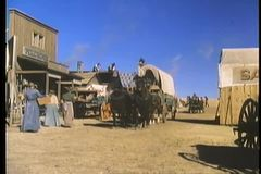Historical reenactment  of 19th century western town stock footage